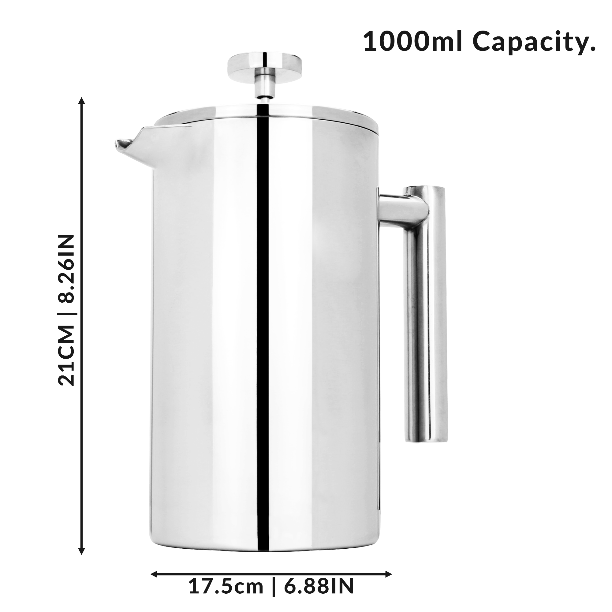 French-Press-Cafetiere-Steel-Coffee-Maker-FREE-Filters-amp-Spoons-M-amp-W miniatuur 17