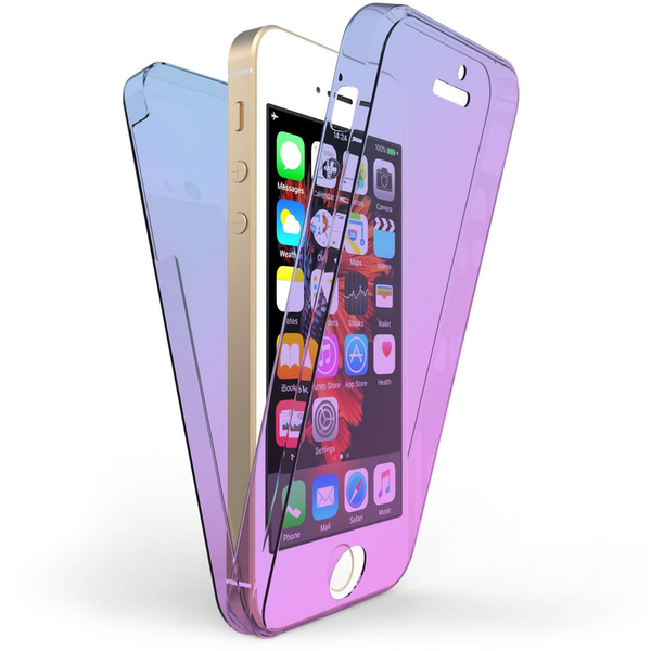 Compare prices with Phone Retailers Comaprison to buy a Apple iPhone 5 / 5S / SE Full Body 360 TPU Gel Case - Blue / Purple