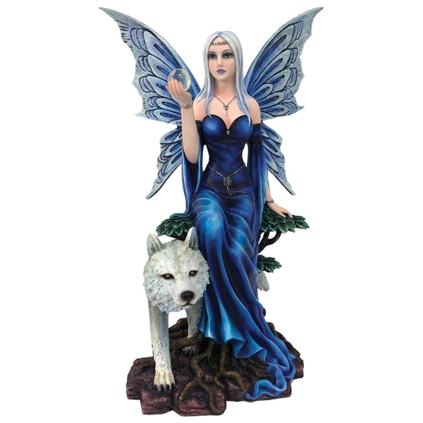 Talanoa Blue Fairy and White Wolf Companion Figurine
