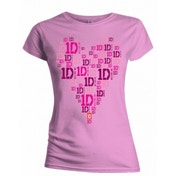 One Direction Heart Logo Skinny Pink TS: Small