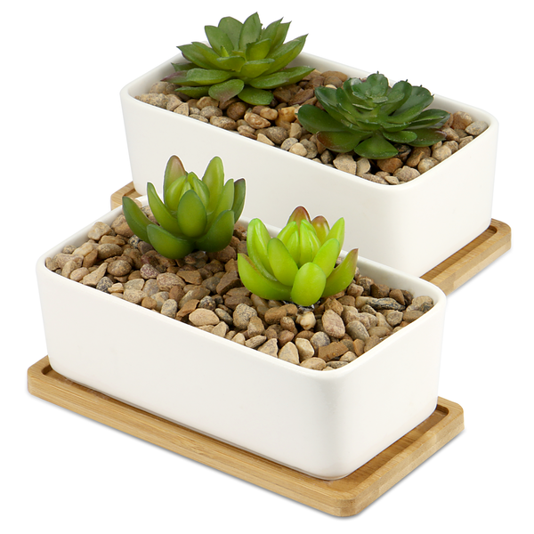 Ceramic Planter & Bamboo Base | M&W x2 Rectangular - Image 1
