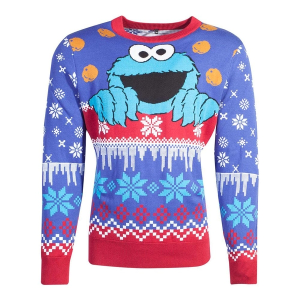 Sesame Street - Cookie Monster Christmas Unisex Large Christmas Jumper - Multi-Colour