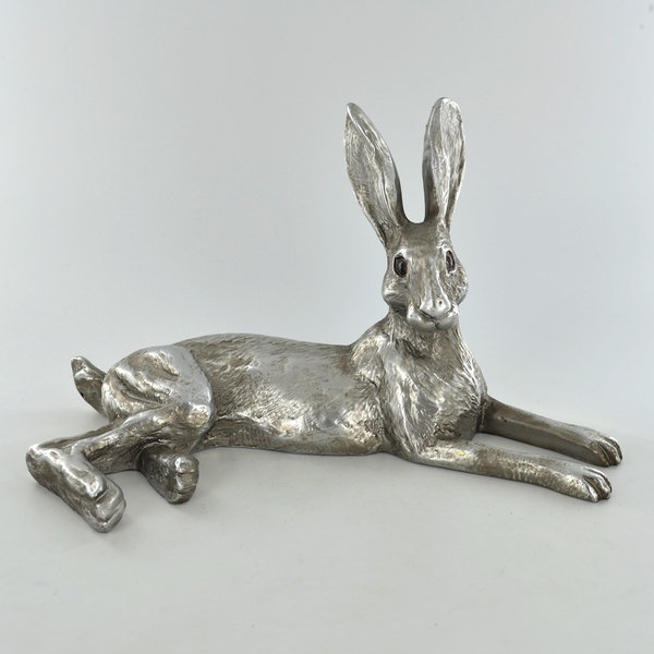 Antique Silver Bluebell Hare Ornament