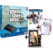 500GB Super Slim Console with GTA V + FIFA 14 + Last Of Us Game + Wanted T-Shirt PS3