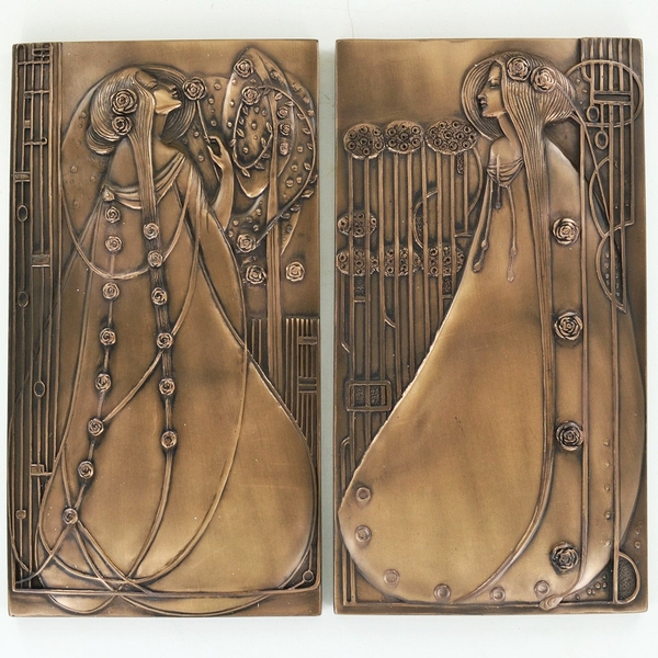 Pair of Mackintosh Style Cold Cast Bronze Wall Plaques 24.5cm