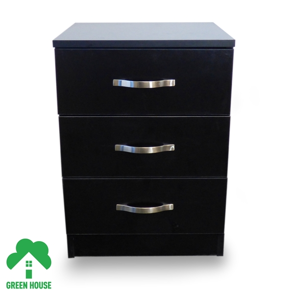 3 Chest Of Drawers Black Bedside Cabinet Dressing Table Bedroom Furniture Wooden Green House