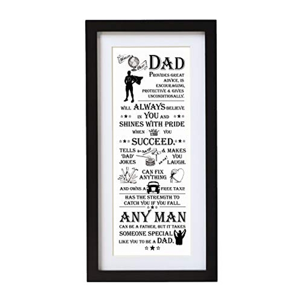 Arora The Ultimate Gift for Man Printed Word Poster-Black Wooden Framed Wall Art Picture-World Best Dad, Multicolour, One Size