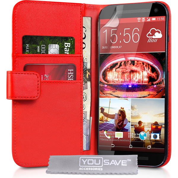 YouSave Accessories HTC One M9 Leather-Effect Wallet Case - Red