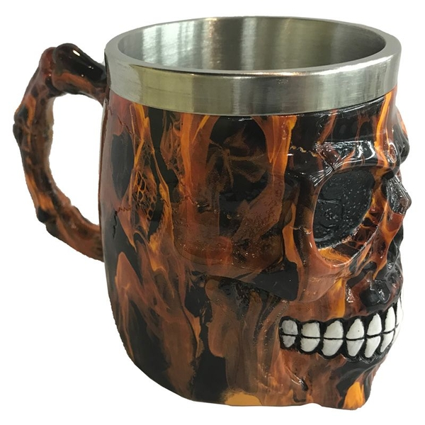 Decorative Brown Marble Effect Skull Tankard