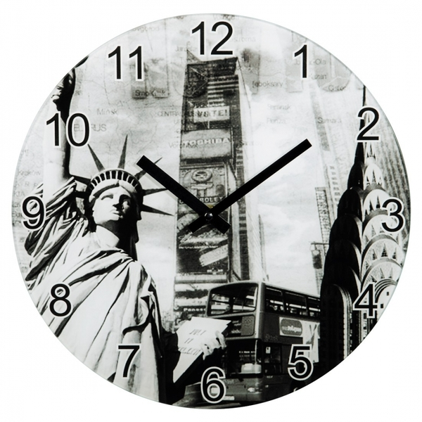 Hama New York Wall Clock Glass (Silent)