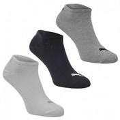 Puma 3 Pack Trainer Socks Grey Black & White Size 6-8