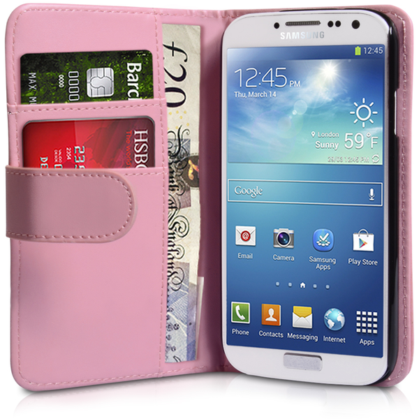 YouSave Accessories Samsung Galaxy S4 Leather Effect Wallet - Baby Pink - Image 1