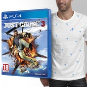 Just Cause 3 PS4 Game + T-Shirt and Mini Magnetic Rico