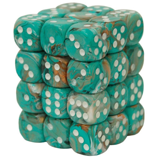 Chessex 12mm Dice Block: Marble Oxi-Copper/White (12)