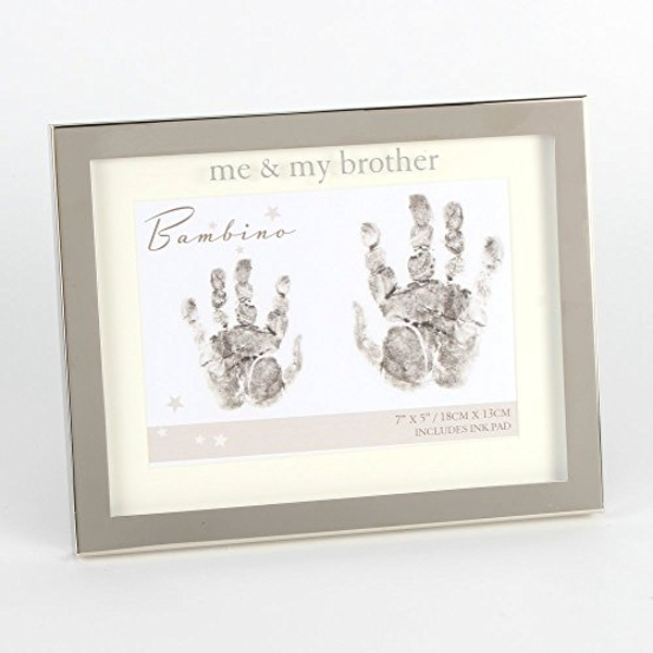 """Bambino Silver Colour Hand Print Frame- Me & My Brother 7x5"""""""