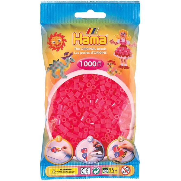 Hama - 1000 Beads in Bag (Neon Fuchsia)
