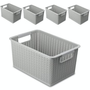 Plastic Storage Boxes - Set of 5 | Pukkr Grey