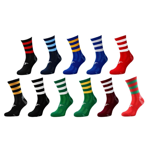 Precision Pro Hooped GAA Mid Socks Junior Red/Green - UK Size 3-6