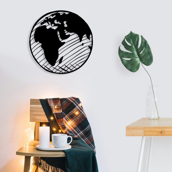 Our Planet Black Decorative Metal Wall Accessory