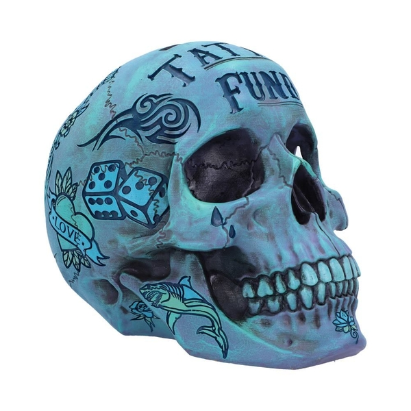 Aqua Blue Tribal Tattoo Fund Skull Money Box