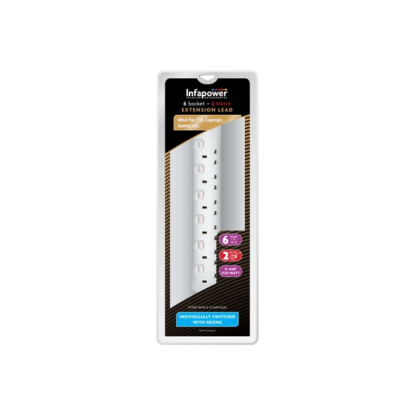 Infapower 6 Socket with Individual Switches 13amp Extension Lead White - 2m UK Plug