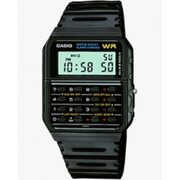 Casio Unisex Quartz Watch with Grey Dial Digital Display and Black Resin Strap CA-53W-1ER