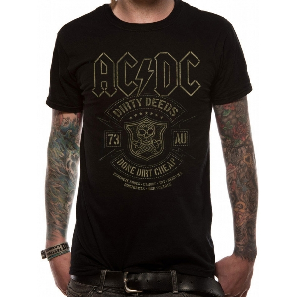 AC/DC Black Done Men's Large T-Shirt - Black