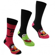 Disney Muppets 3 Pack Crew Sock UK Size 7-11 (Black)