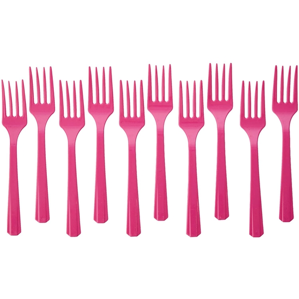 Disposable Plastic Forks Bright Pink (Pack Of 10)