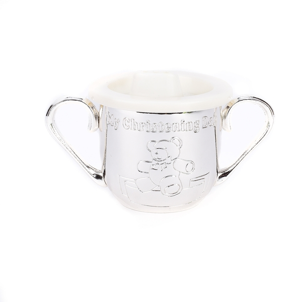 Silverplated Engravable My Christening Cup