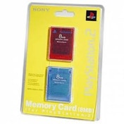 Official 8MB Sony Memory Card Blue & Red Double Pack PS2