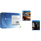 PlayStation 4 (500GB) White Console + Battlefield Hardline + The Last of Us
