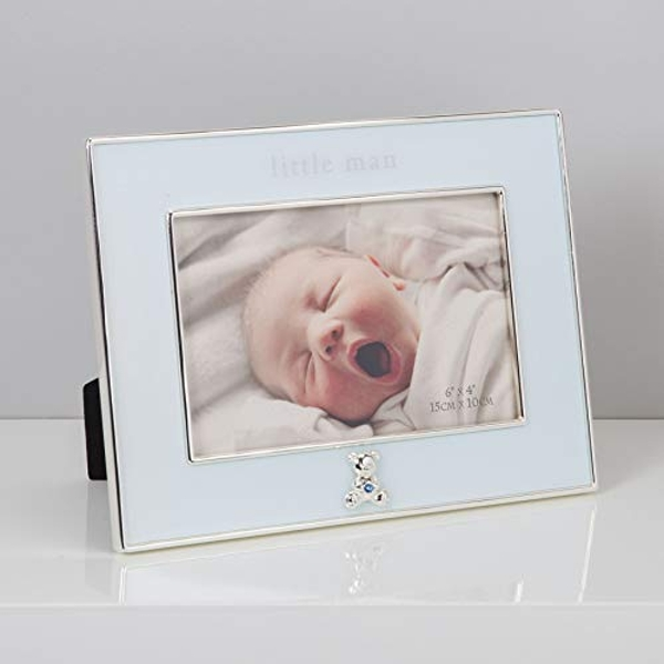 "4"" x 6"" - Bambino Silver Plated Blue Frame - Little Man"