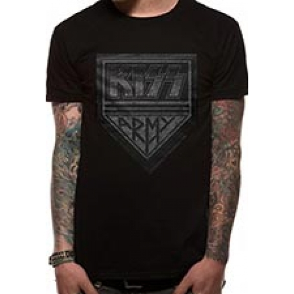 Kiss Men's Army Distressed T-Shirt - Large