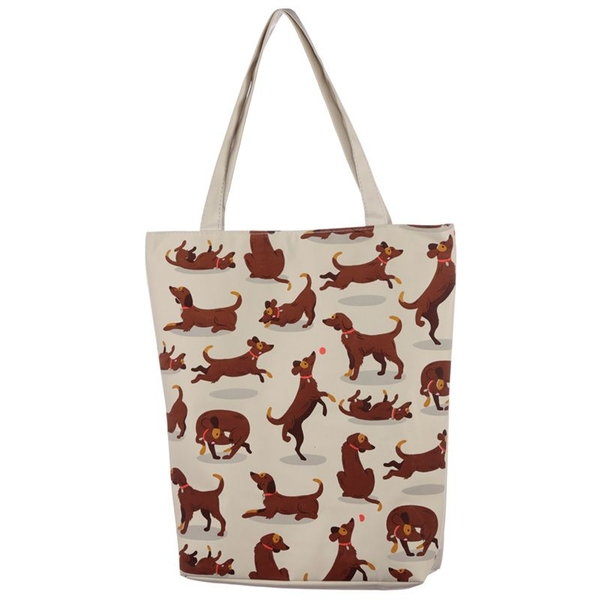 Catch Patch Dog Cotton Zip Up Shopping Bag