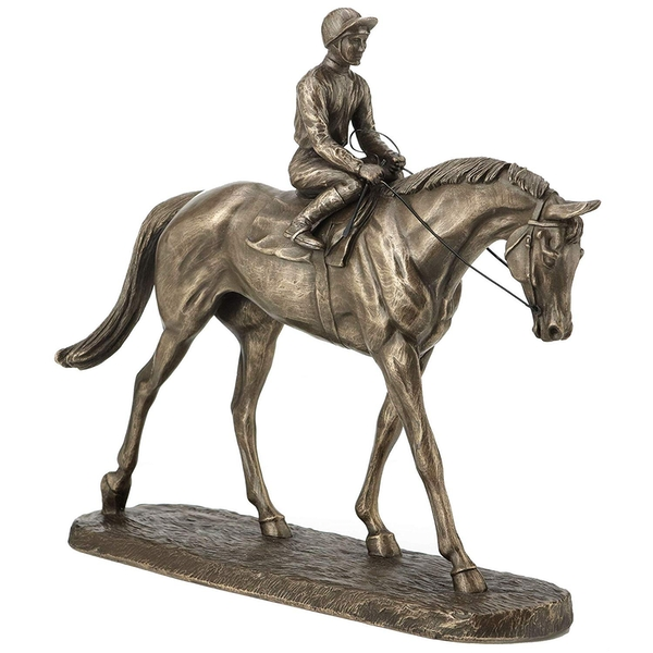 Horse Racing Going To The Post by Harriet Glen Cold Cast Bronze Sculpture 22cm