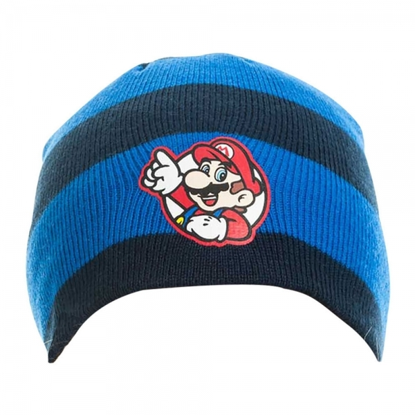fb70b14b8dd Nintendo Super Mario Bros. Striped Mario Badge Beanie Hat ...