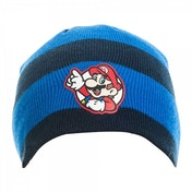 Nintendo Super Mario Bros. Striped Mario Badge Beanie Hat