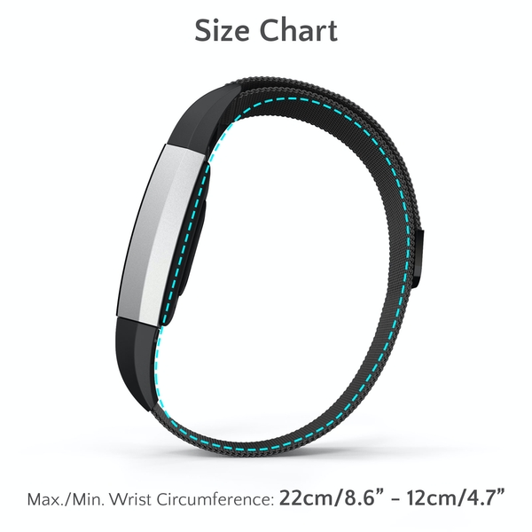 Proworks FitBit Charge 2 Milanese Metal Strap - Black - Image 6