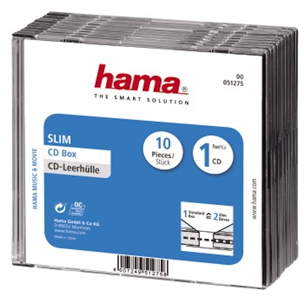 Hama Slim CD Jewel Case, pack of 10, transparent/black