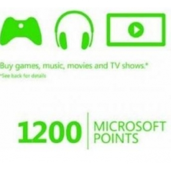 1200 Microsoft Points Card Xbox 360 and Xbox One Digital Download