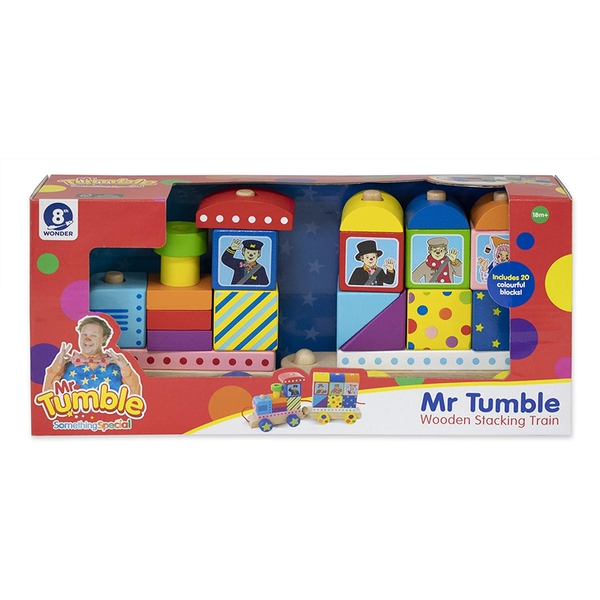 Mr Tumble Wooden Stacking Train Pull Along Toy