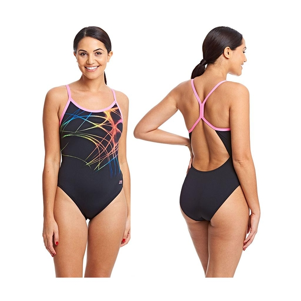 Zoggs Aqualast Flame Sprintback Swimsuit Black/Multi 34""