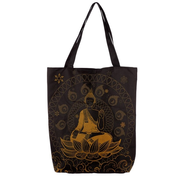 Thai Buddha Handy Cotton Zip Up Shopping Bag