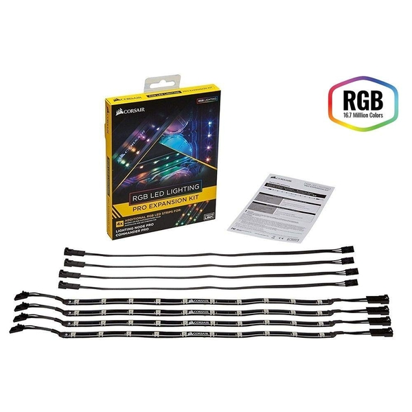Corsair RGB LED Lighting PRO Expansion Kit, 4 x Individually Addressable RGB LED Strips   Extension Cables