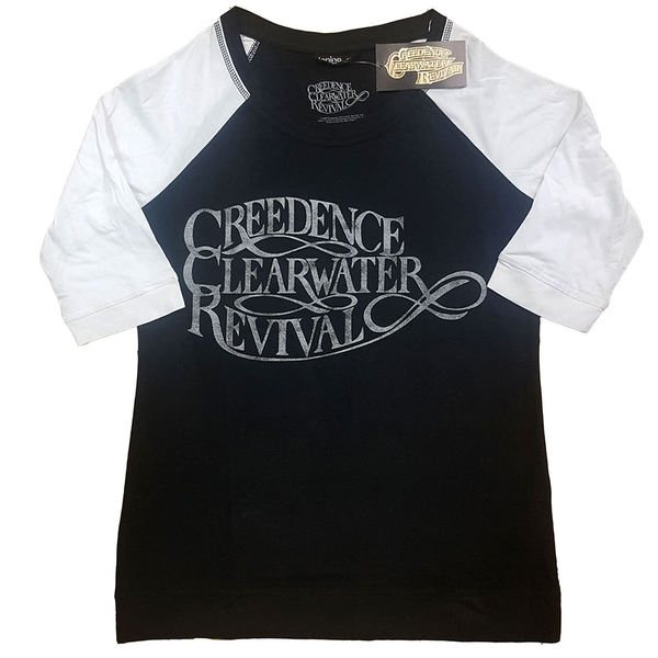 Creedence Clearwater Revival - Vintage Logo Ladies X-Small T-Shirt - Black,White