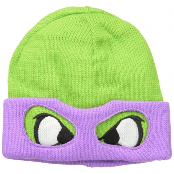 Teenage Mutant Ninja Turtles Unisex Donnie Face & Mask Beanie (Green/Purple)