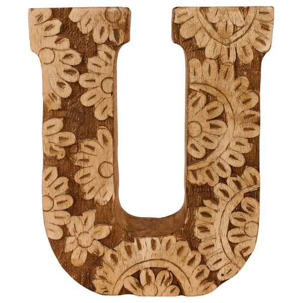 Letter U Hand Carved Wooden Flower