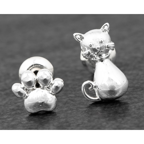 Cat & Paw Print Odd Silver Plated Earrings