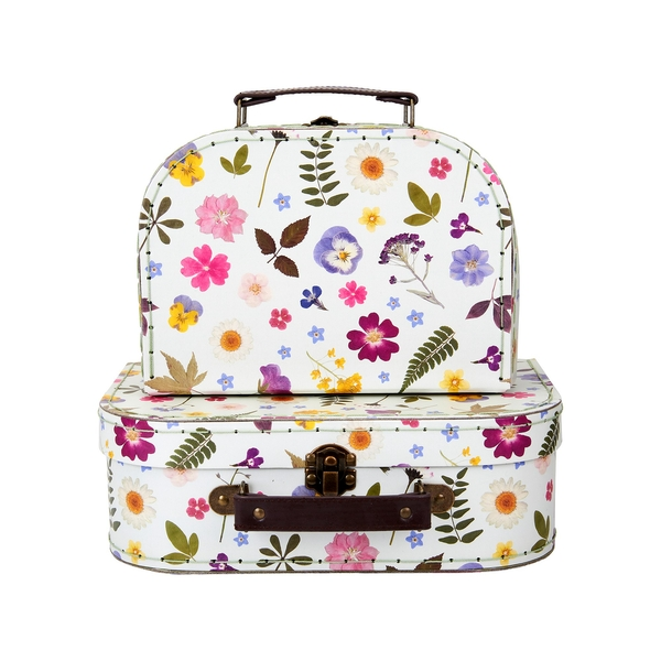 Sass & Belle (Set of 2) Pressed Flowers Suitcases